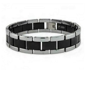 Men's Tungsten Bracelet With Black IP Center and Brushed Finish
