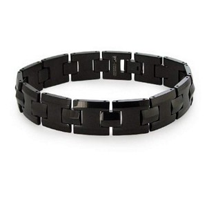 Men's Tungsten Bracelet With Polished Black Finish Links
