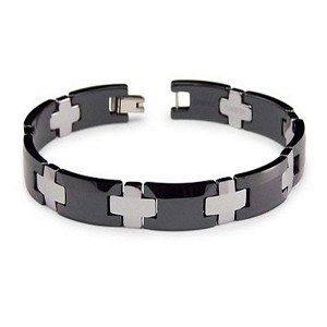 Men's Two Tone Tungsten and Ceramic Bracelet
