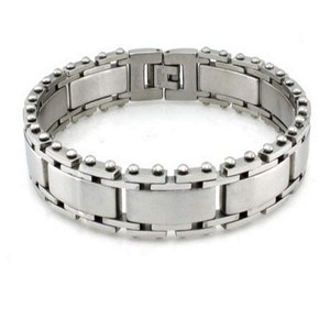 Stainless Steel Bracelet For Men With Satin Finish and Studs