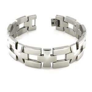 Men's Polished Stainless Steel Bracelet With Cross Links