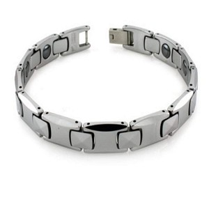 Tungsten Bracelet With Pyramid Accent Links and Interior Magnets