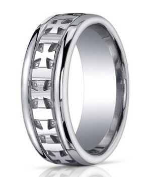 Designer Argentium Silver Cross Design Wedding Ring With Polished Finish
