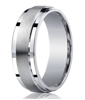 Designer Argentium Silver Satin Band Wedding Ring with Polished Step-Down Edges | 7mm - JBS1016