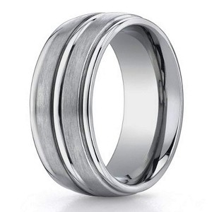 On Sale Designer Satin Finish Titanium Wedding Ring with Polished Trim | 8mm