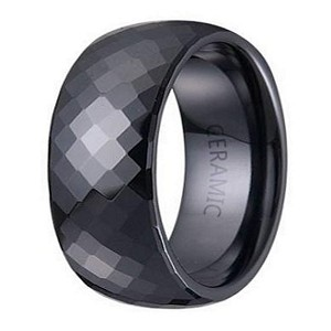 Men's Black Ceramic Wedding Ring with Domed Profile and Faceted Glossy Finish | 7.5mm - JC0049