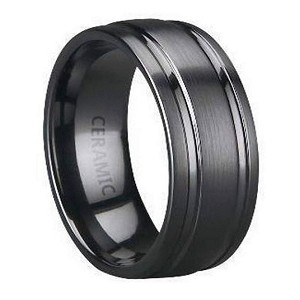 Men's Black Ceramic Wedding Band with Satin Finish and Two Polished Grooves | 8mm - JC0051