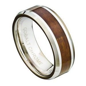 Men's Cobalt Chrome Ring with Koa Wood Inlay and Beveled Edges