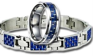 Men's Polished Blue Carbon Fiber Inlay Gift Set