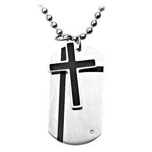 Stainless Steel Cross and Dog Tag Combo Necklace - JN1003