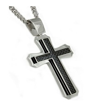Men's Stainless Steel Pendant With Black Carbon Fiber Cross