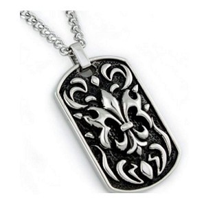 Mens' Stainless Steel Pendant With Oxidized Fleur de Lis Design