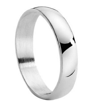 mens stainless steel wedding band with domed profile and polished finish 4mm jss0220 - Stainless Steel Wedding Rings