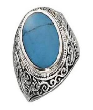 Men's Bezel Set Oval Turquoise and Silver Ring - JP2065