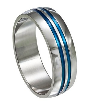 Stainless Steel Ring With Blue Grooves Just Men S Rings