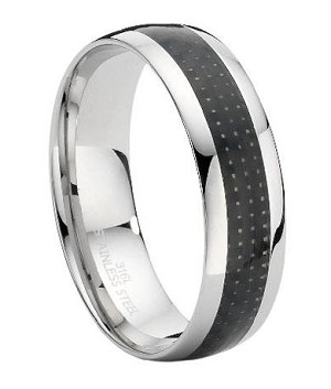 Stainless Steel Ring with Carbon Fiber Inset - JSS0108