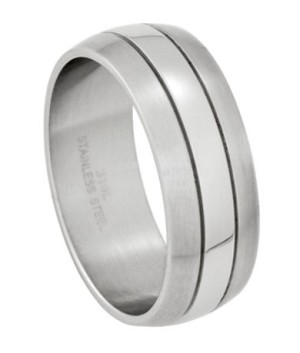 mens stainless steel wedding band with brushed and polished finish 9mm jss0141 - Stainless Steel Wedding Rings
