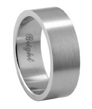 mens stainless steel wedding ring with flat face and brushed finish 72mm jss0144 - Stainless Steel Wedding Rings