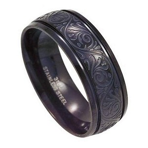 Polished Black Stainless Steel Ring for Men with Lasered Design | 8mm