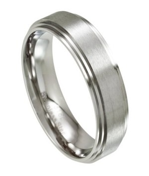 Men's Stainless Steel Wedding Ring with Step Down Edges | 7mm