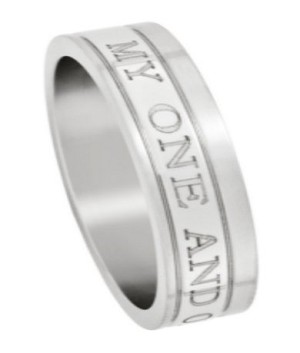 "Stainless Steel ""My One and Only"" Ring - JSS0609"