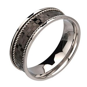 Men's Black Checker Pattern ring with Braid Steel Edges Ring