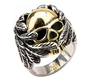 Men's Stainless Steel IP Gold Skull Wrapped in Wings Ring