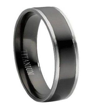 Black Titanium Wedding Band For Men With Grey Edges 6mm