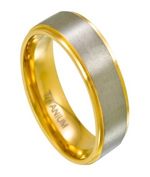 Titanium Wedding Ring for Men, Gold Tone Step Down Edges | 8mm
