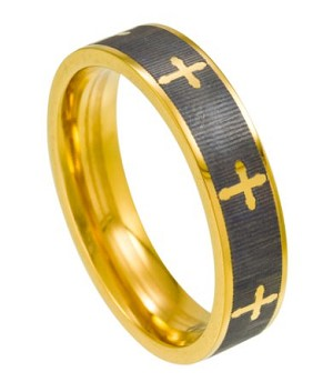 Titanium Two-Toned Men's Christian Ring with Polished Crosses and Edges| 6mm - JT0122