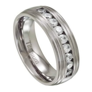 Men's Titanium Wedding Band with 9 Channel Set CZs | 8mm - JT0141