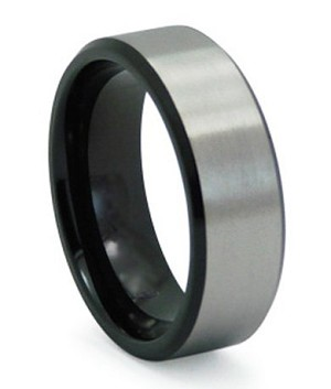 Men S Black Anium Wedding Band With Satin Overlay 8mm Jt0142