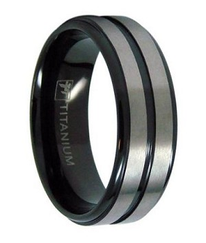 mens black titanium wedding ring with two satin bands 8mm jt0145 - Titanium Mens Wedding Rings