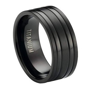 black titanium wedding band with satin finish and polished bands 8mm jt0171 - Titanium Mens Wedding Rings