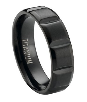 Matte Finished Black Anium Wedding Ring With Vertical Grooves 6mm Jt0173