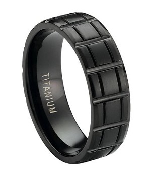Matte-Finished Black Titanium Wedding Ring with Vertical Bar Pattern | 8mm - JT0175