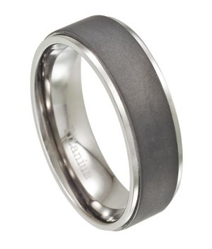 Men's Titanium Wedding Band, Matte Finish with Polished Edges | 8mm