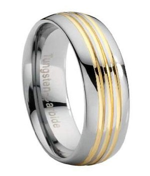 Tungsten Wedding Band with Three Gold Grooves - JTG0031
