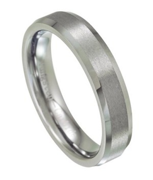 Tungsten Wedding Ring with Satin Finish and Beveled Edges - JTG0042