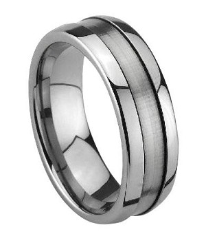 Tungsten Satin-Finish Grooved Wedding Ring with Polished Edges | 8mm - JTG0047