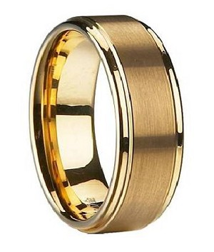 Gold-Plated Tungsten Satin-Finish Wedding Band with Polished Edges | 8mm - JTG0048