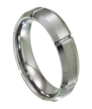 Tungsten Wedding Ring with Satin Finish and Grooves - JTG0051