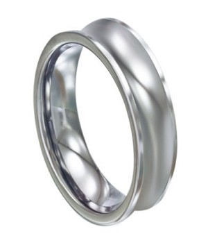 Concave Tungsten Carbide Wedding Band - JTG0060