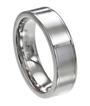 Men's White Tungsten Ring with Flat Profile and Polished Edges | 7mm - JTG0064