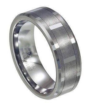 Tungsten Vertical Faceted Spinner Ring - JTG0068