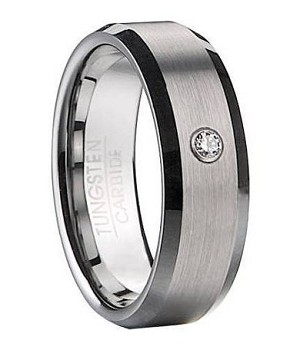 Men's Satin Finish Tungsten Ring with CZ - JTG0069