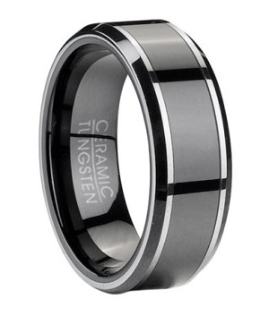 Contemporary Tungsten Wedding Band With Black Ceramic Inlay 8mm