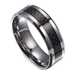 Men's Tungsten Wedding Band with Black Carbon Fiber Inlay | 8mm