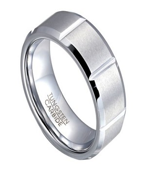 White Tungsten Men's Ring with Polished Vertical Notches | 8mm