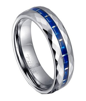 Tungsten and Blue Carbon Fiber Ring for Men, Faceted Edges | 7mm